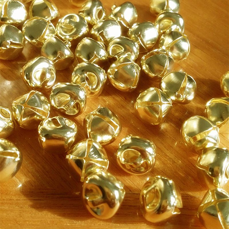100 gold plated or antique bronze metal small jingle bells Christmas