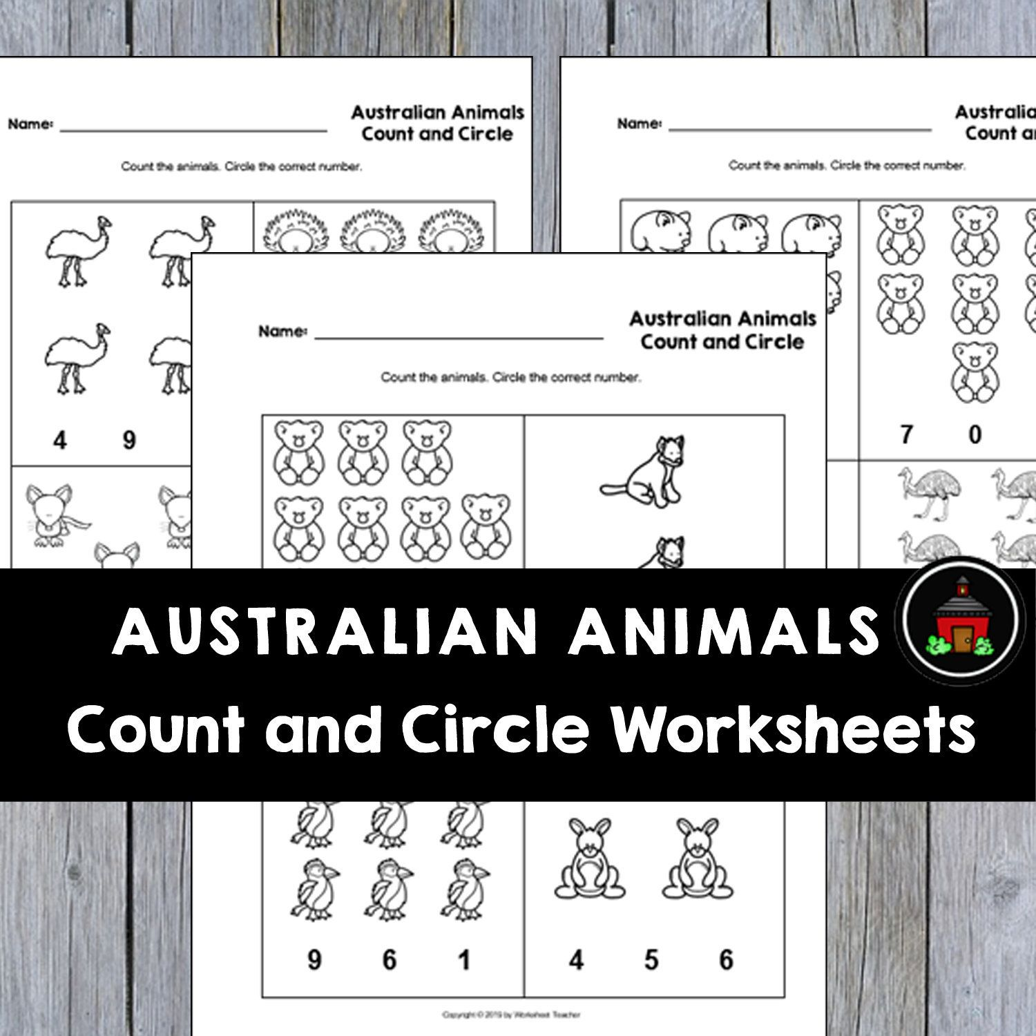 4 Printable Australian Animals Count And Circle Numbers 0