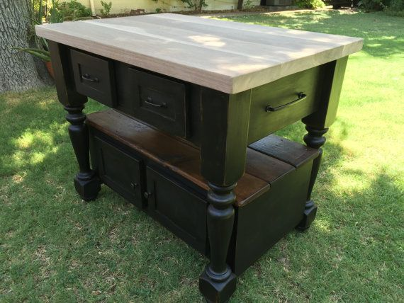 Make Your Own Butcher Block Kitchen Island : The Livingston Kitchen Island with Walnut Butcher Block Top Make your own in 2019 Kitchen ...