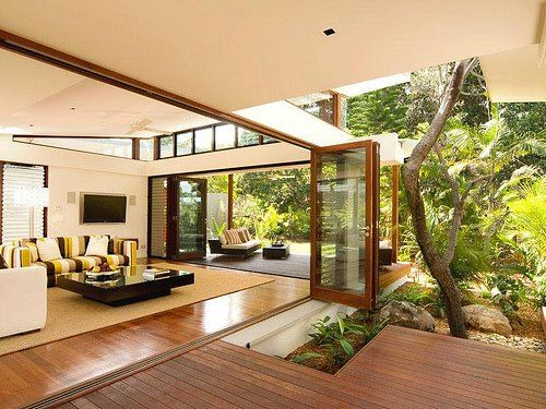 Giant Windows Courtyard Wood Everywhere Indoor Outdoor Living House Design Home