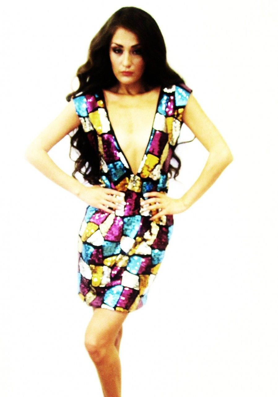 Shop Kami Shade Plus Size Milano Sleeveless V Front Sequin Dress