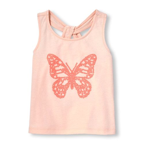 Baby Girls Toddler Matchables Sleeveless Embellished Graphic Open-Knot Top - Pink - The Children's Place