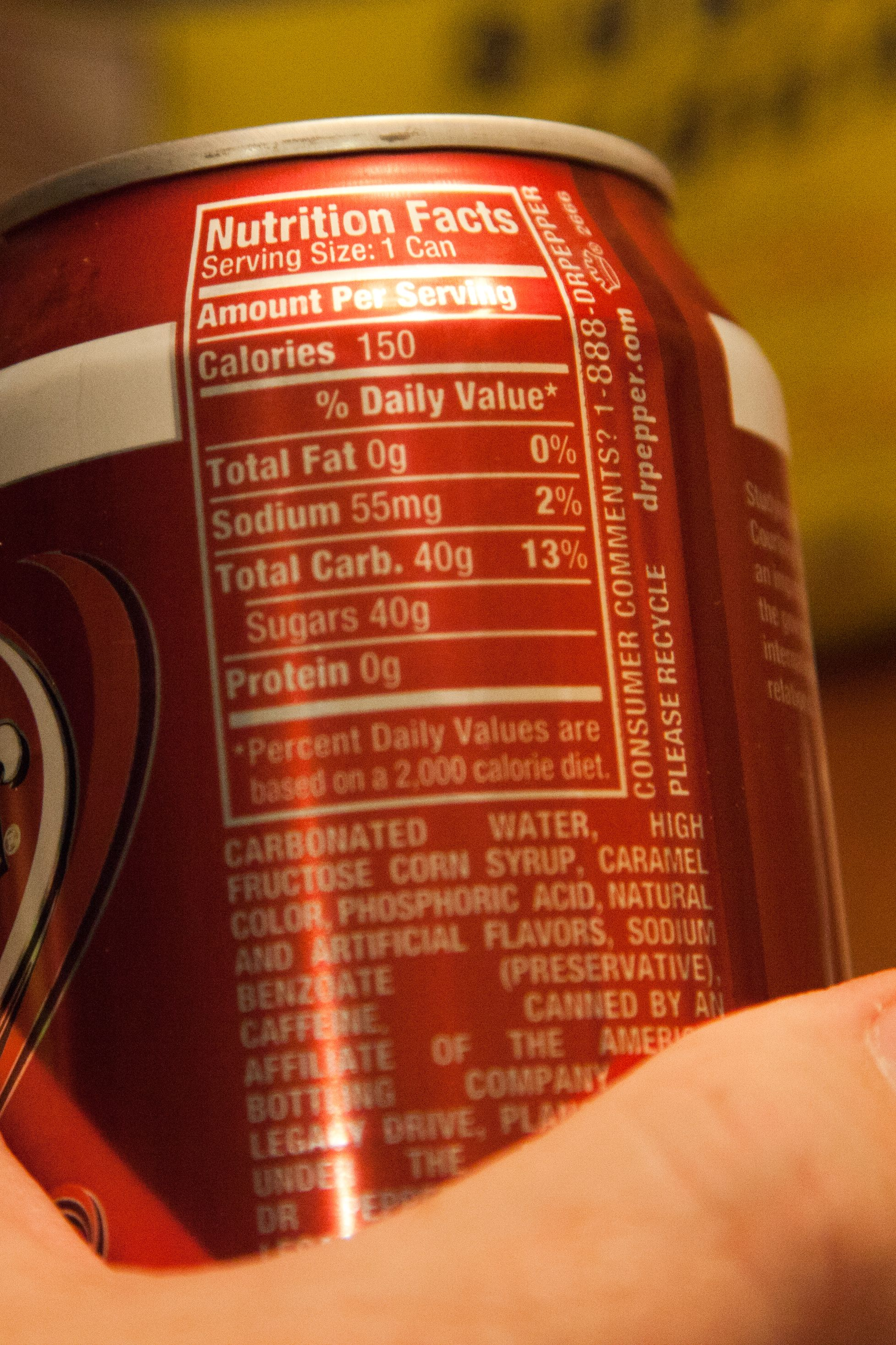 Dr Pepper Food Label