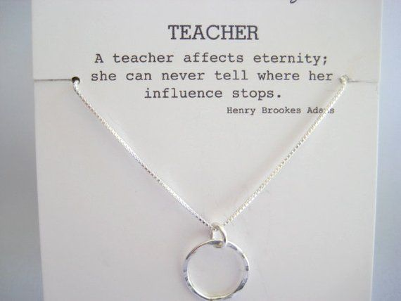 Special Teacher Quote Silver Necklace