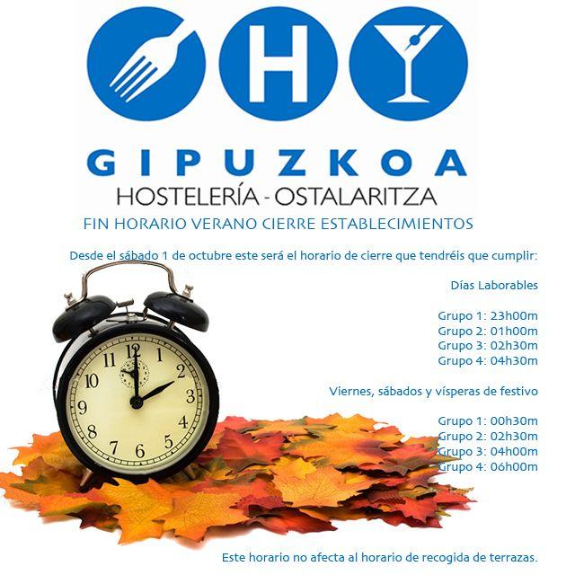 Acabado el verano y Septiembre, desde mañana 1 de Octubre, cambia el horario de cierre de  los establecimientos el horario de cierre que tendréis que cumplir: http://bit.ly/2dfMWmV #Hostelería #Gipuzkoa #Kalitatea