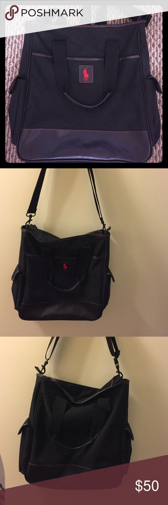 Polo Ralph Lauren laptop bag Great condition! Can be used as a laptop carrying case or just an everyday bag. Perfect for men or women! Adjustable shoulder strap, can be worn as cross body or on shoulder. Also can be carried with additional handles Polo by Ralph Lauren Bags Laptop Bags