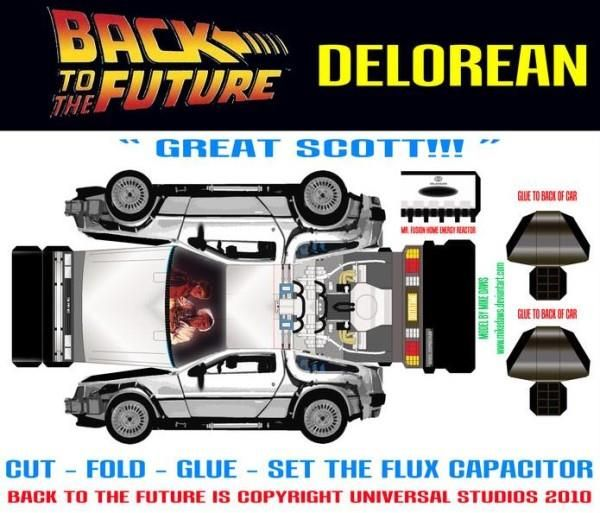 Papermau Back To The Future Delorean Paper Model By Mike Daws