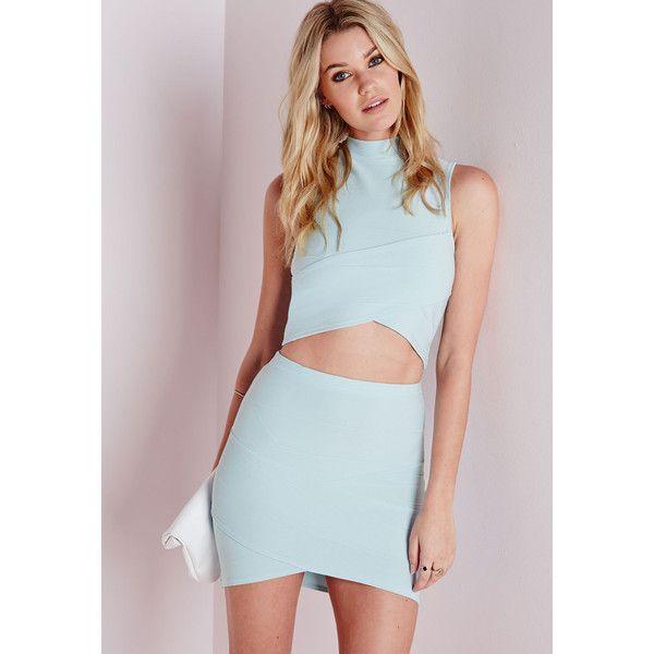 ea70b0017e Missguided Bandage Asymmetric Hem Mini Skirt Blue ( 12) ❤ liked on Polyvore  featuring skirts