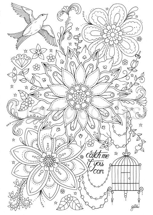 coloring page - Catch Me - instant download, hand drawn artwork ...