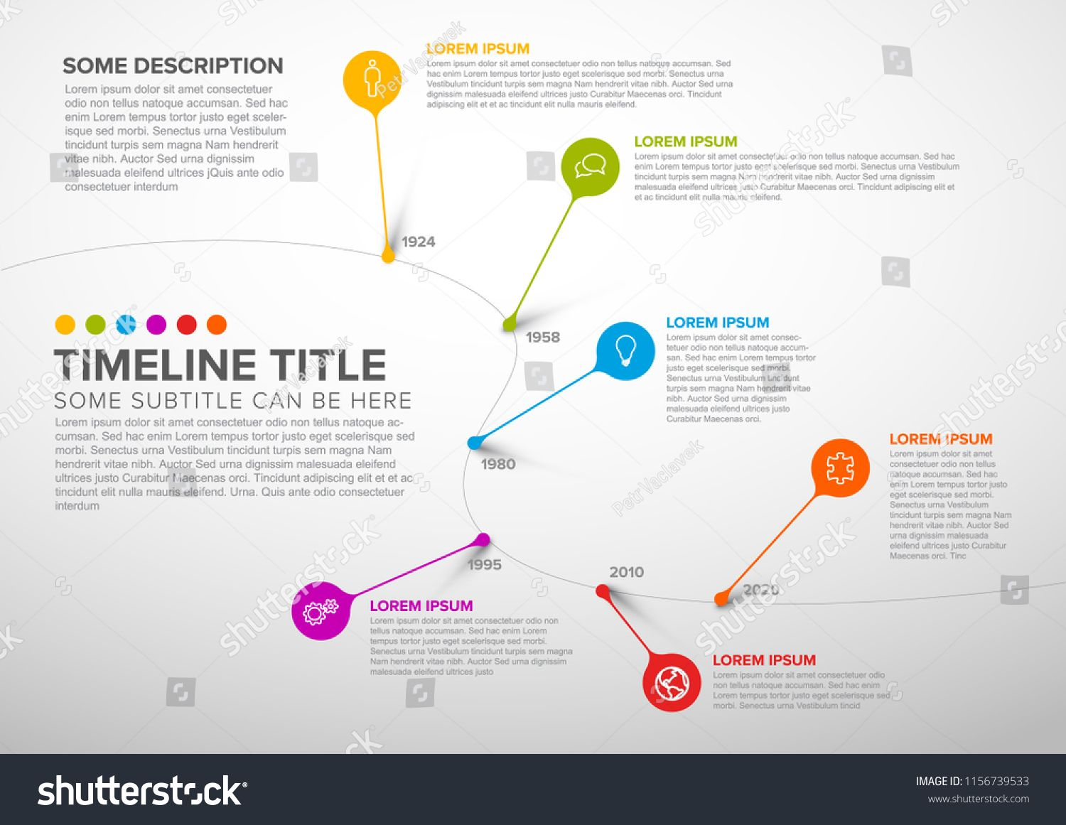 Colorful Dark Vector Infographic Timeline Report Template With Bubbles Light Version