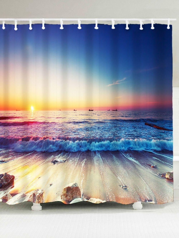 Waterproof Beach Sunlight Shower Curtain Unique Shower Curtain Beach Scenery Printed Shower Curtain