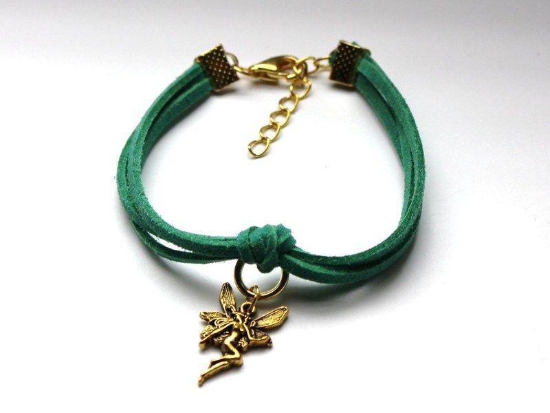 Zielona bransoletka z wróżką w Especially for You! na http://pl.dawanda.com/shop/slicznieilirycznie #DaWanda #biżuteria #jewellery #jewelry #Schmuck #bransoletka #Armband #bracelet #handmade   #rzemienie #straps