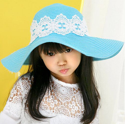 9e6a2aa44d0 Wide brim sun hats for kids lace blue straw hat summer wear package ...
