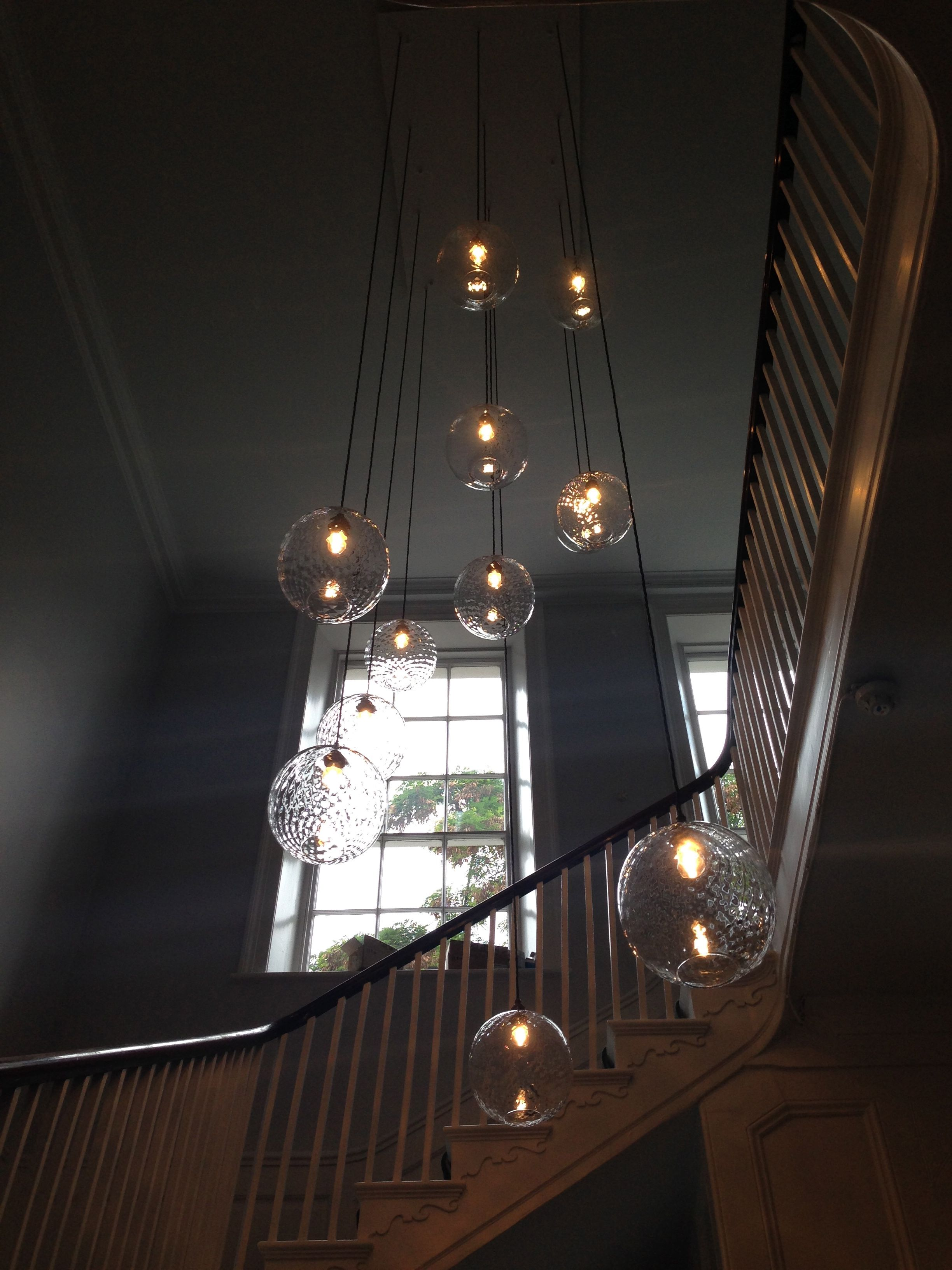 Hand Blown Glass Large Clear Diamond Pick N Mix Pendant Lights By Lighting Fixture Using Multiple On Wiring Ceiling Light Rothschild Bickers In A Stairwell Drop Plate