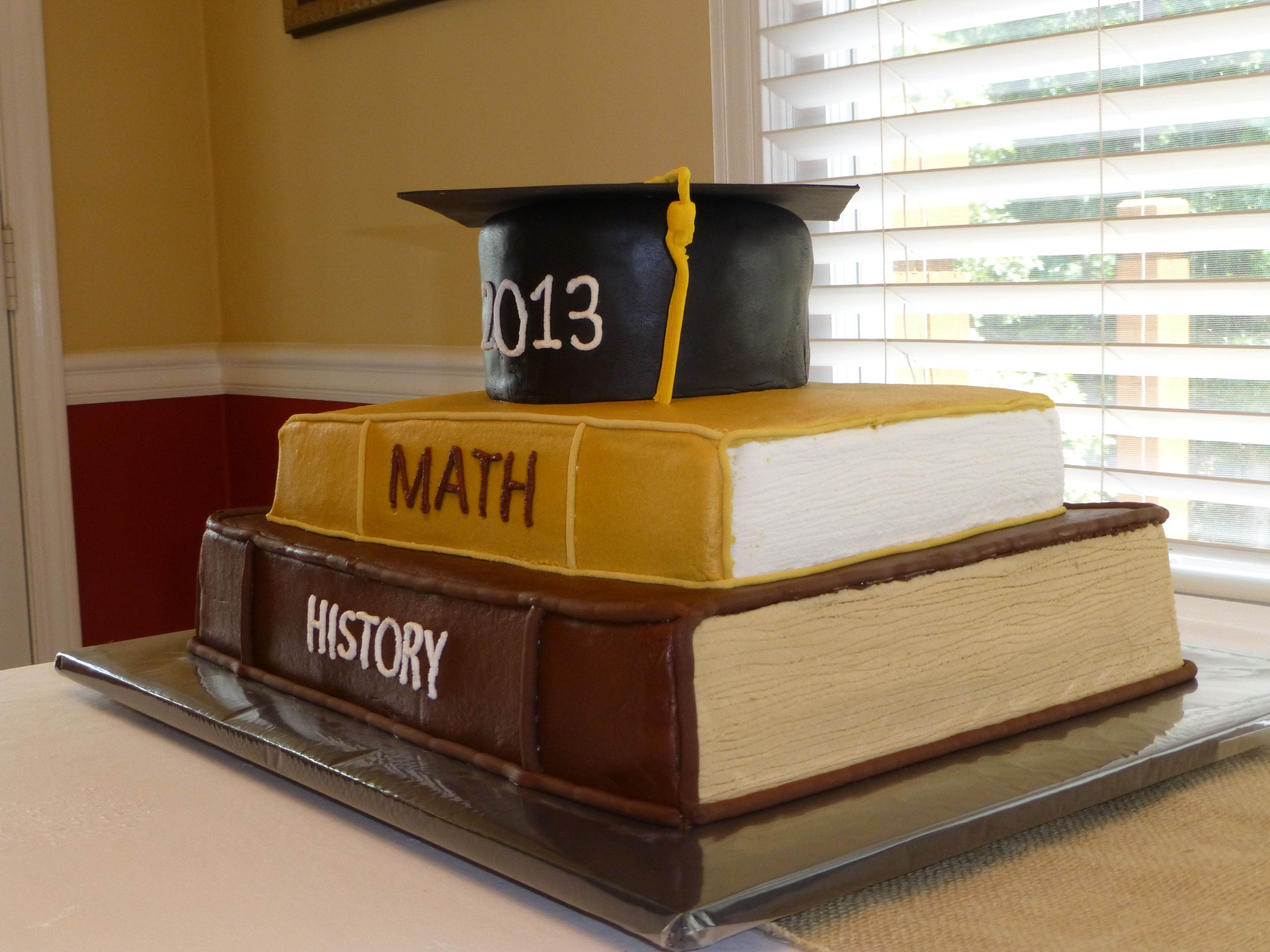 Congratulations Jacob - Buttercream cake with fondant mortar board and trim on the book bindings.