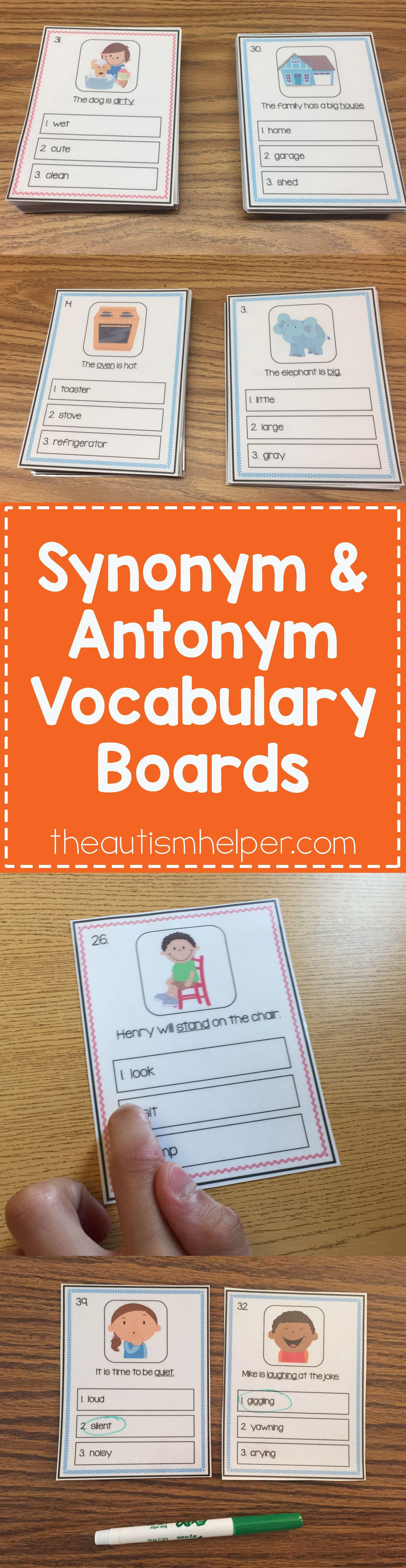 Synonym And Antonym Vocabulary Boards