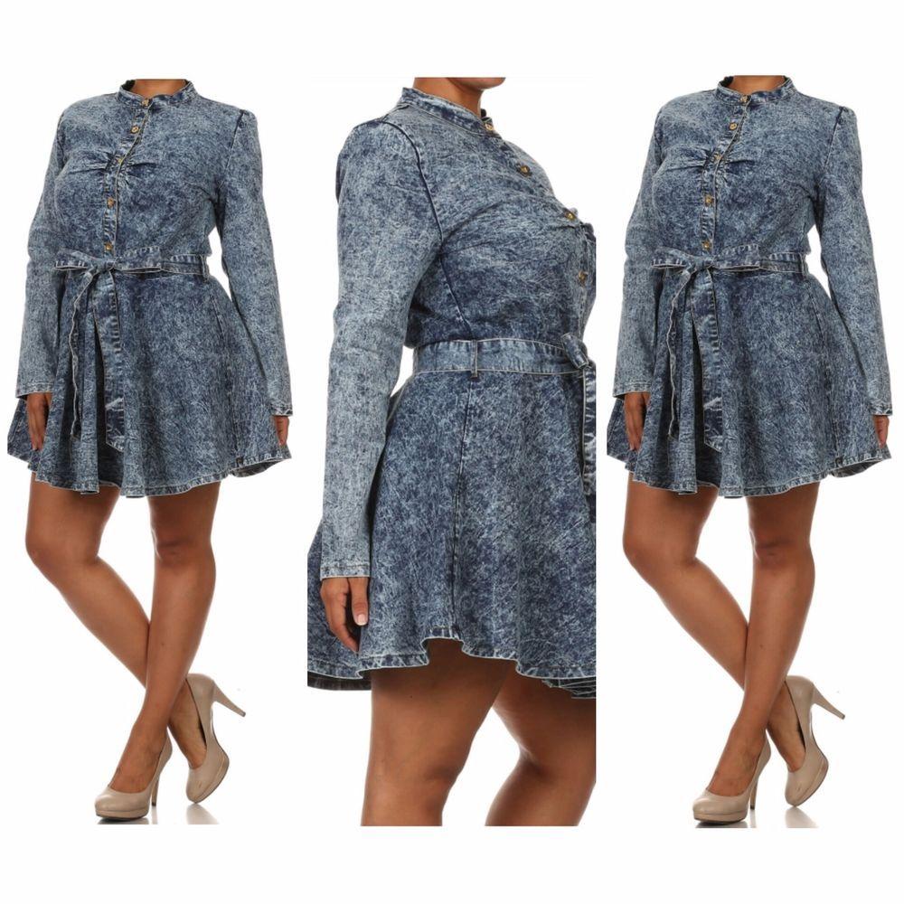 074c294e602a Settle Down 1X 2X 3X Plus Size Acid Wash Button Down Belted Denim Shirt  Dress  SettleDown  ShirtDress  Casual