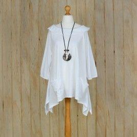 6cbcb4bae15 Ladies Lagenlook Plus Size Tunic Top Collar – WHITE  lagenlook  linen  tunic   quirky