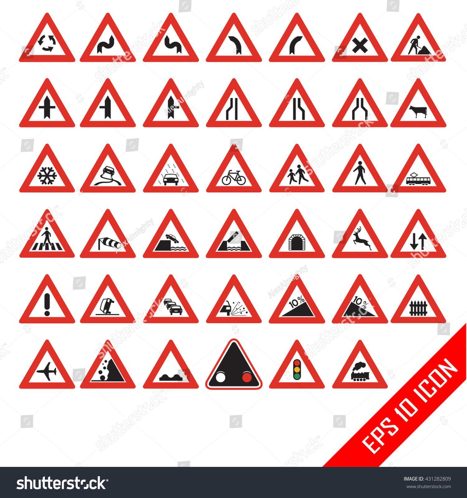 Warning road signs. Set of triangular warning symbols