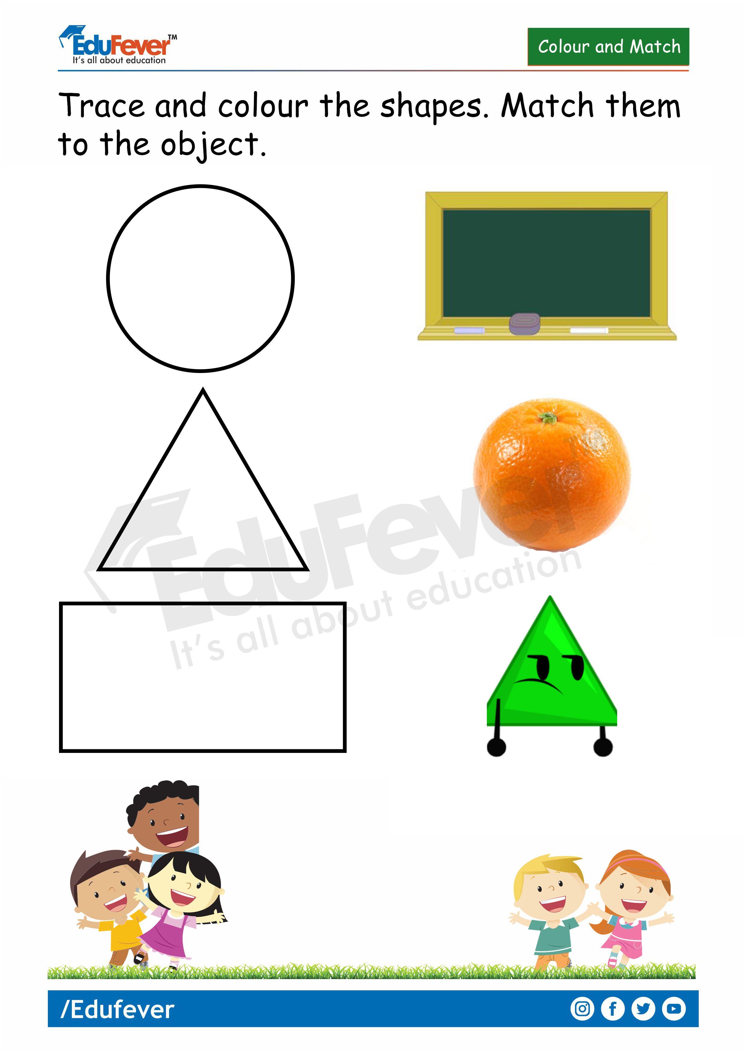 Colour And Match Lkg Worksheets In For Kindergarten In