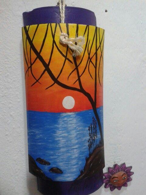 Atardecer Pintado En Teja Con Pintura De Acr 237 Lico Tejas