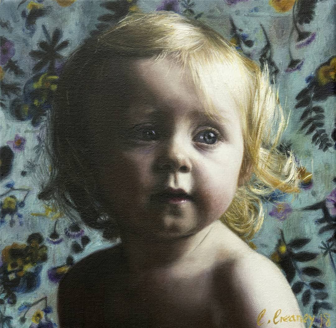 Little oil painting of my daughter love 20 cm x 20 cm