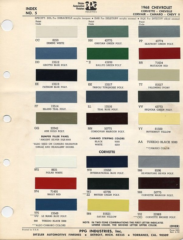 Camaro Factory Paint Charts Muscle Cars Pinterest - 1969 camaro paint codes colors