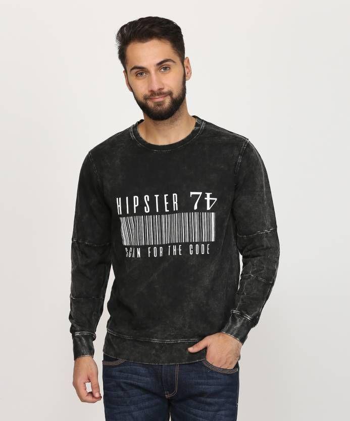 4fa0b8e4c224 Indigo Nation Street Printed Round Neck Casual Men s Black Sweater ...
