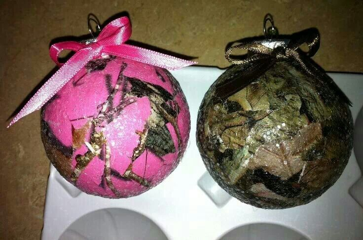 Beautiful Pink Camo Christmas Ornaments Part - 2: Camo Christmas Ornaments