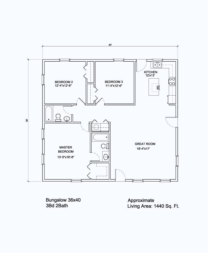 36x40 Floor Plan No Bedroom 3 That Would Be Rest Of Kitchen And A Small Laundry With A Toilet R Barndominium Floor Plans Metal House Plans Barn Apartment Plans