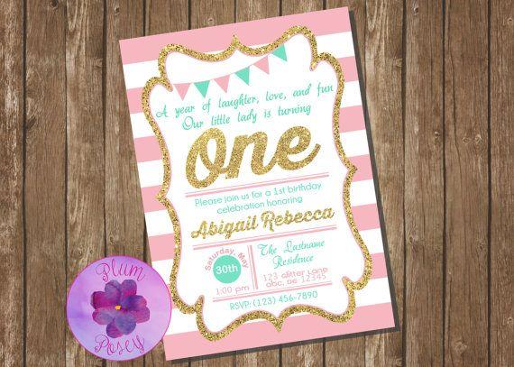 printable girl s pink mint gold glitter birthday invitation
