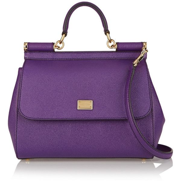 Dolce & Gabbana Textured-leather shoulder bag featuring polyvore fashion bags handbags shoulder bags violet dolce gabbana purse dolce&gabbana purple purse dolce gabbana handbag purple handbags