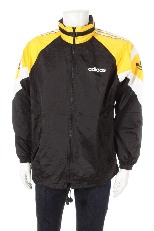 5d28fbf6d Vintage 90s Adidas Trefoil Logo Tracksuit Top Windbreaker jacket Hidden  Hood…