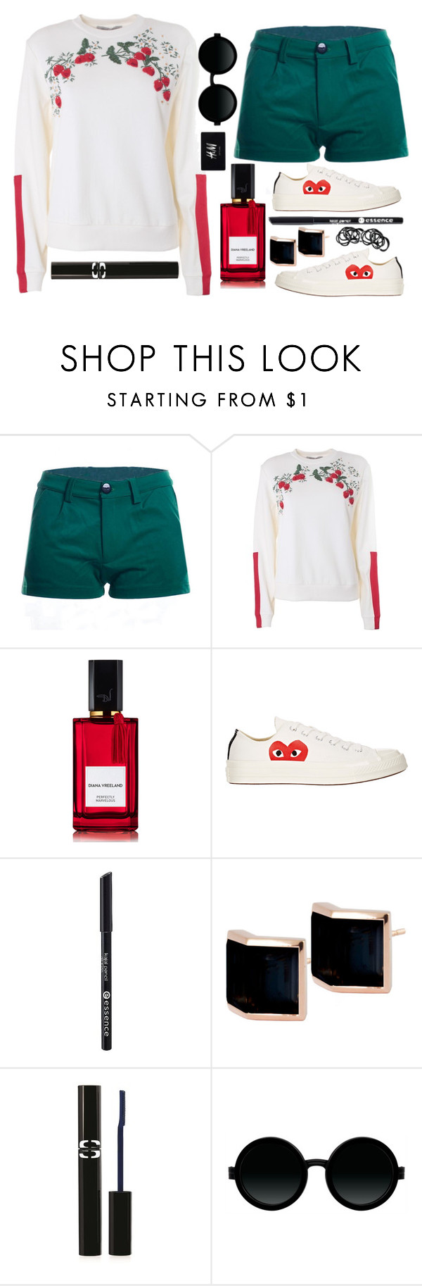"""Same colour scheme set ,xx"" by cusatta ❤ liked on Polyvore featuring Sportmax, Diana Vreeland Parfums, Comme des Garçons, Essence, Kattri, Sisley, Moscot and H&M"