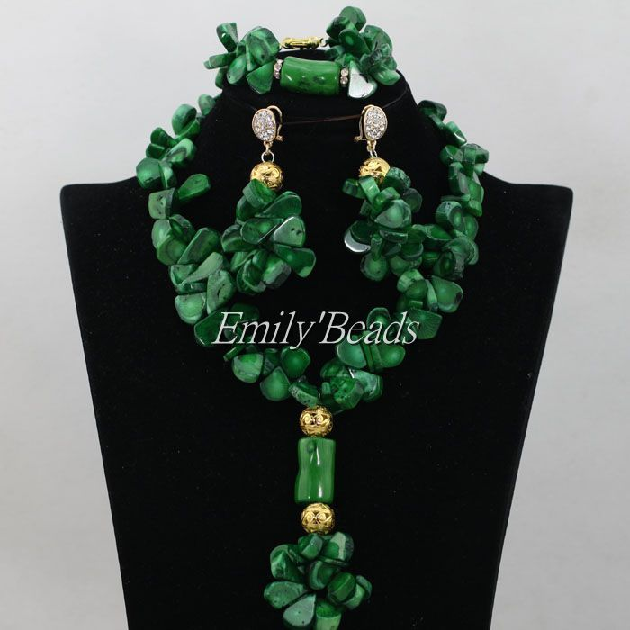 2016 New Arrival! Fashion Green Nigerian Coral Beads Jewelry Set ...