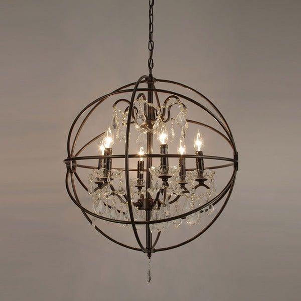 Foucaults orb crystal iron 6 light chandelier furniture foucaults orb crystal iron 6 light chandelier aloadofball Gallery