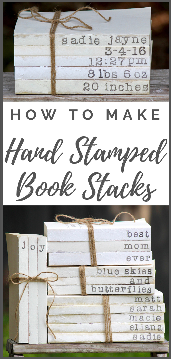 How to Make Hand Stamped Book Stacks