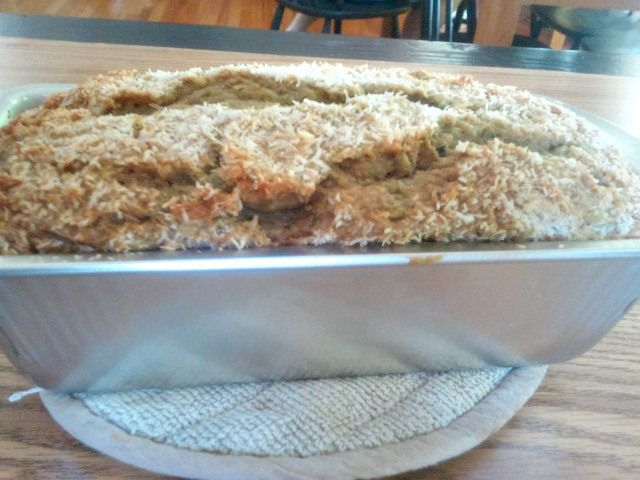 Coconut crusted zucchini bread
