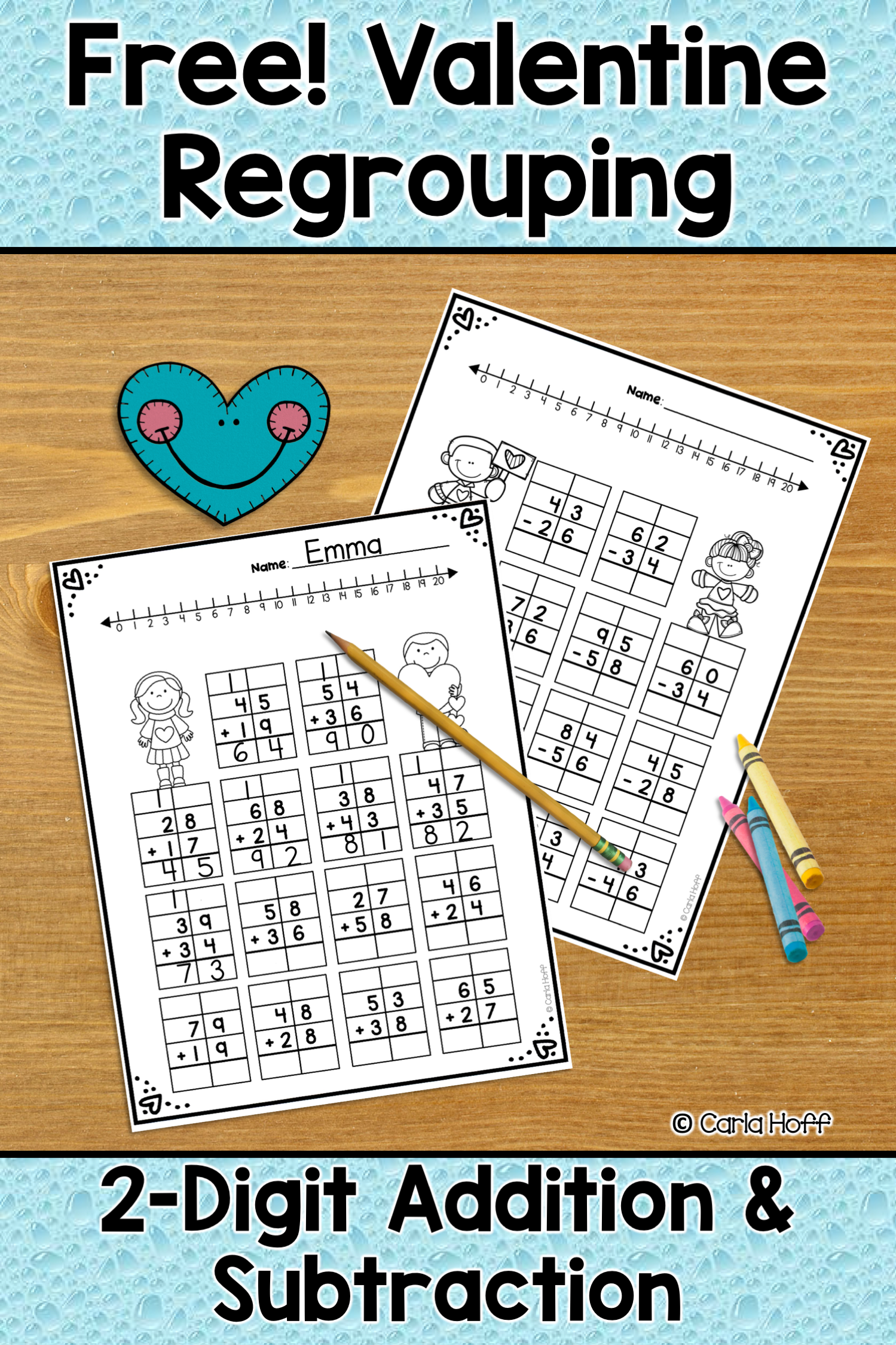 Valentine Addition Amp Subtraction With Regrouping