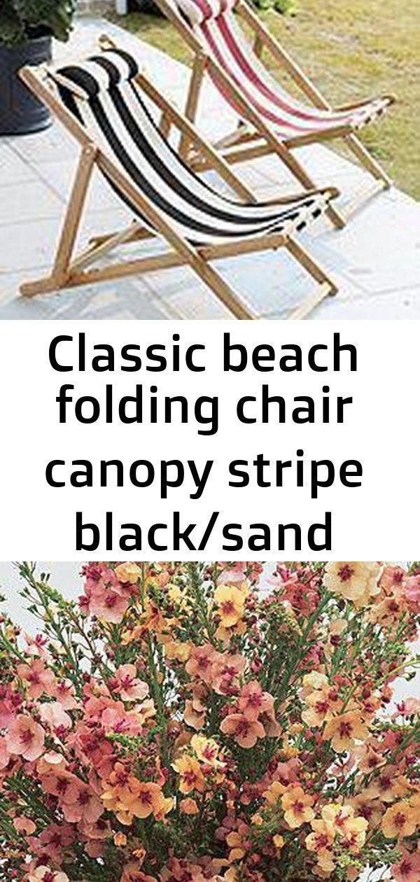 Classic beach folding chair canopy stripe black/sand sunbrella - ballard designs #smallcourtyardgardens