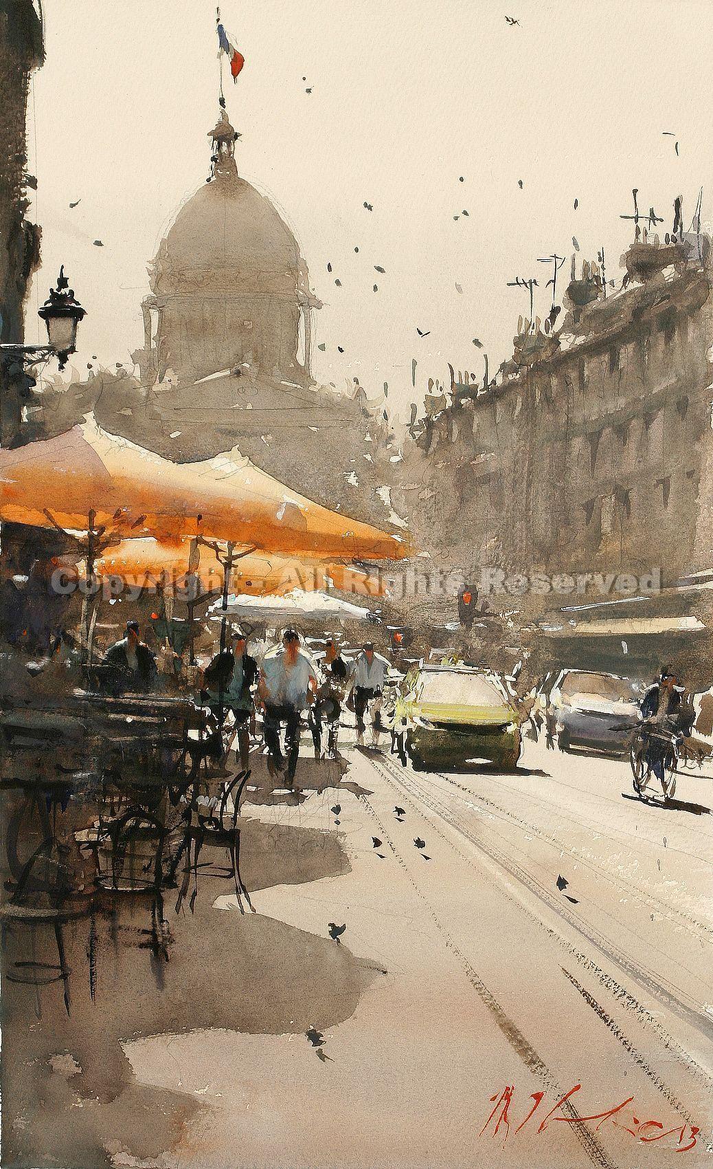 Sunny Day Paris By Joseph Zbukvic Greenhouse Gallery Of Fine