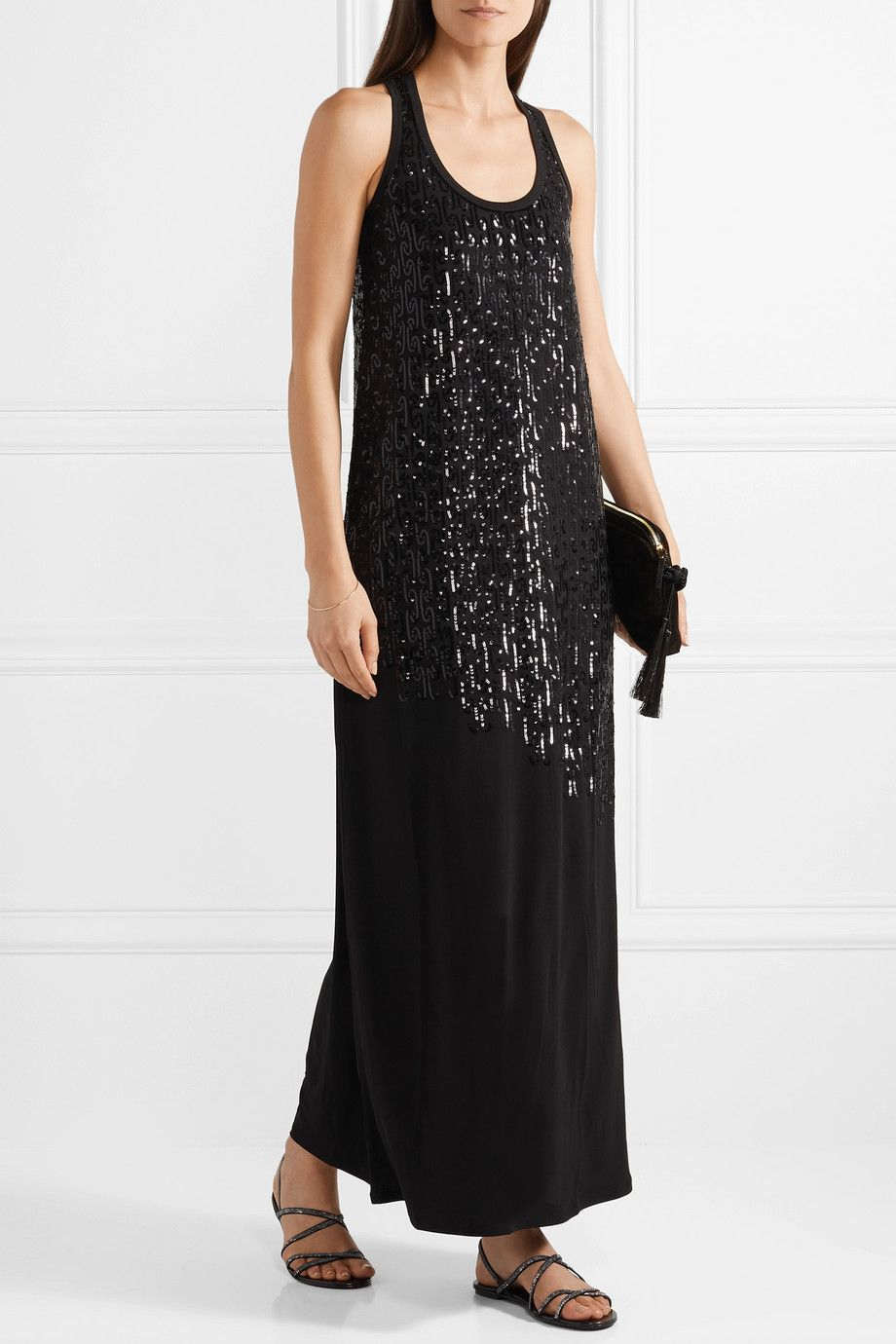 Sequined Stretch-jersey Maxi Dress - Black Marie France Van Damme 2vsscPm3