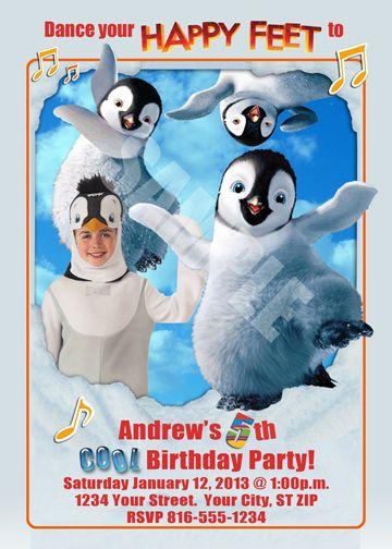 Happy Feet Party Invitations Penguins Birthday Invite