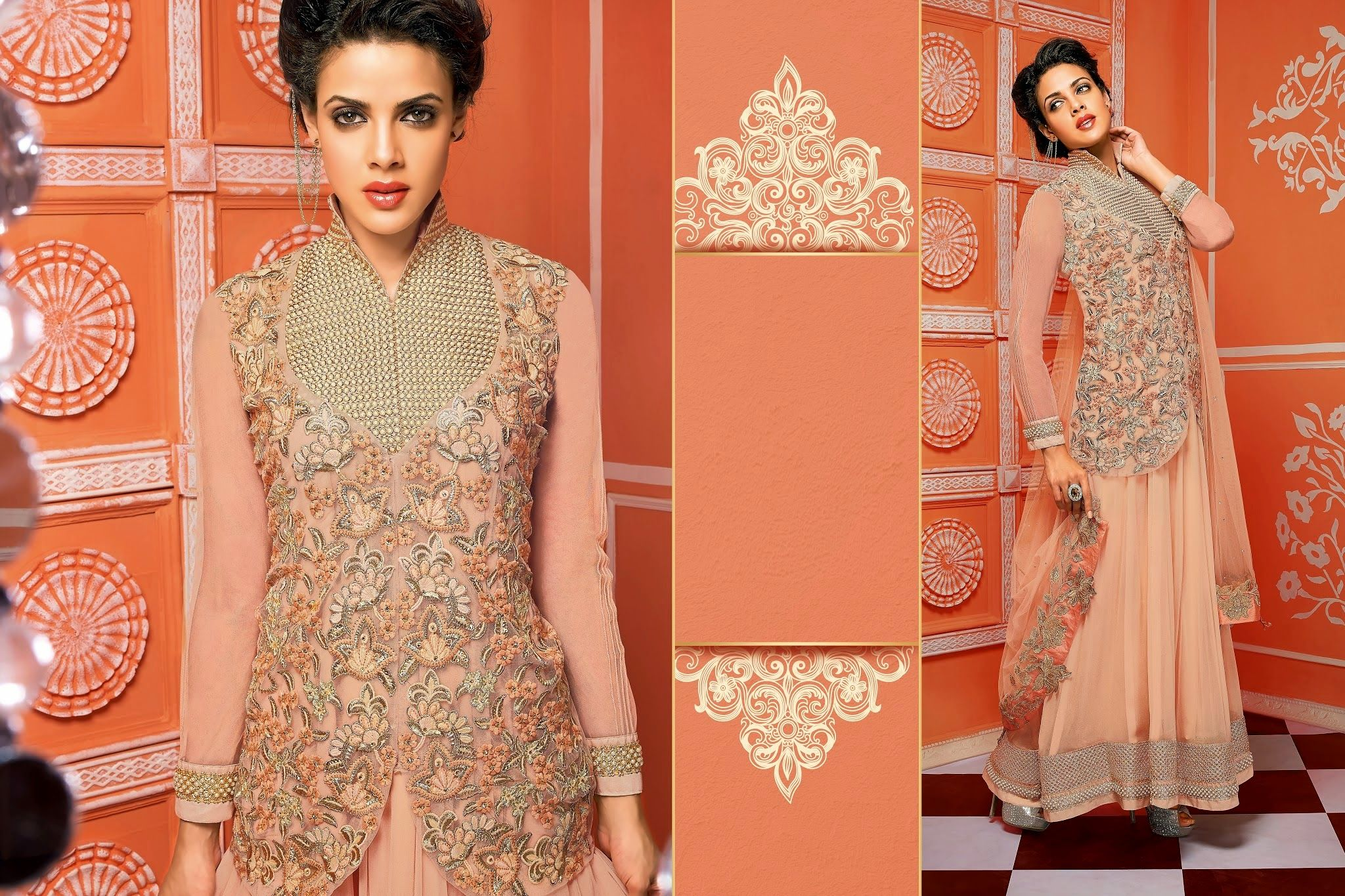 Dazzling heavy amazing girly long stylish peach anarkalisuit