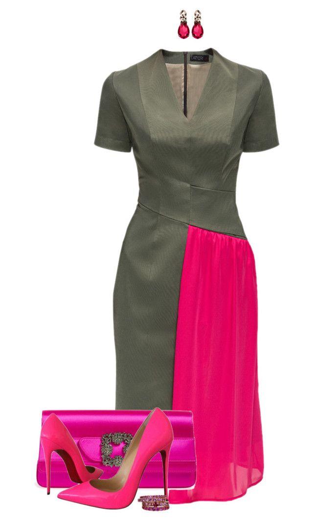 """""""LATTORI Hot Pink Accent Dresses"""" by ayupsakti ❤ liked on Polyvore featuring Lattori, Manolo Blahnik, Christian Louboutin, Janis Savitt and FerrariFirenze"""