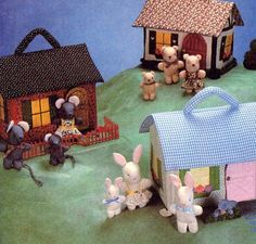 Vintage 1982 McCall's Fabric Doll House with Mouse, Bear or Bunny Family and Furniture--UNCUT