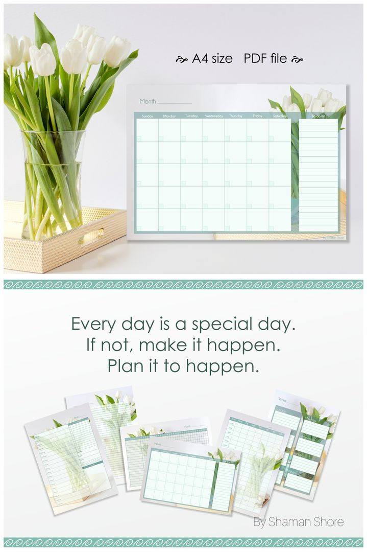 Weekly Agenda 2017 Monthly Planner A4 Pdf, Undated Planner