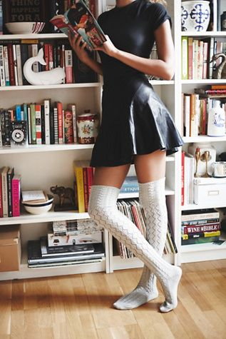 3ff83c5e822 Sexy leather dress and those socks are perfect accent. Free People Womens  Filomena Over the Knee Sock
