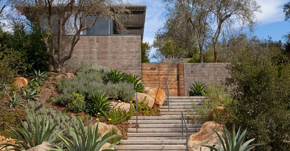 entrance landscaping at MONTECITO CONTEMPORARY RESIDENCE