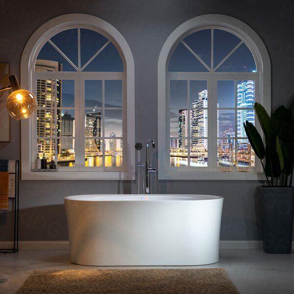 "59"" x 30"" Freestanding Air Acrylic Bathtub with Light in ..."